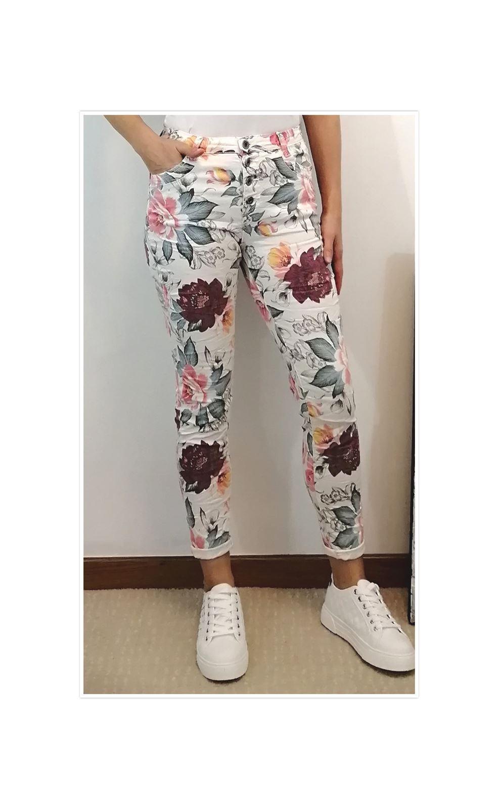 Pantalon Pitillo Flores Pantalones Y Shorts